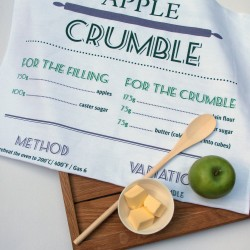 Apple Crumble Recipe Tea Towel