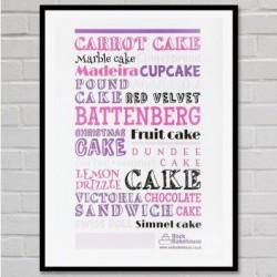 Pink Cake Typography Art Print