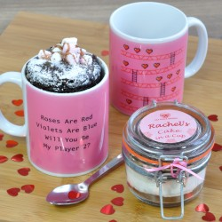 Personalised Romantic Gaming Mug with Chocolate Cake Treat