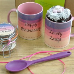 Personalised 'Happy Anniversary Lovely Lady' Chocolate Mug Cake