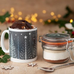 Personalised Christmas Trees Chocolate Mug Cake