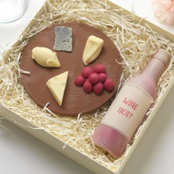 Chocolate Cheese Board And Wine Bottle