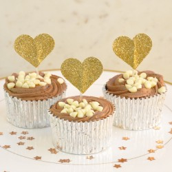 Gold Glitter Heart Cupcake Toppers (Pack of 12)