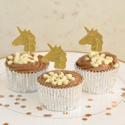 Gold Glitter Unicorn Cupcake Toppers (Pack of 12)