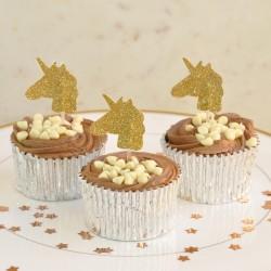 Gold Glitter Unicorn Cupcake Toppers - Pack 0f 12