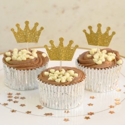 Gold Glitter Crown Cupcake Toppers (Pack of 12)