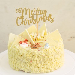 Merry Christmas Gold Glitter Cake Topper