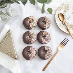 Vegan Baked Chocolate Donuts with Sprinkles (Box of 6)