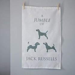 A Jumble of Jack Russells Tea Towel