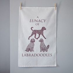 A Lunacy of Labradoodles Tea Towel