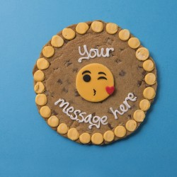 Kissing Emoji Giant Chocolate Chip Cookie Card