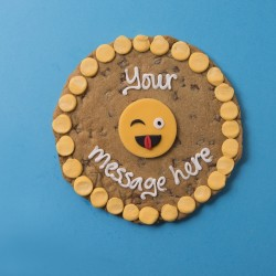 Winky Face Emoji Giant Chocolate Chip Cookie Card