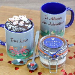True Love is Always an Adventure. Couple's Chocolate Mug Cake Gift Set