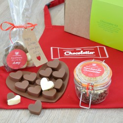 Personalised Hearts Chocolate Making Kit with Apron - Regular, Dairy Free & Vegan Options
