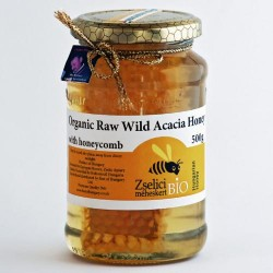 Organic Raw Hungarian Acacia Honey with Honeycomb