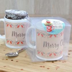 Personalised Robin Pairs Chocolate Mug Cake Secret Santa Gift
