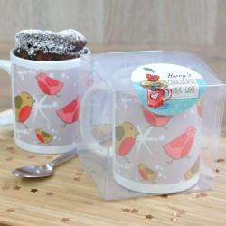 Personalised Silver Robins Chocolate Mug Cake Stocking Filler Gift