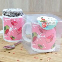 Pink Robins Chocolate Mug Cake Personalised Gift - Vegan, Dairy-Free, Gluten-Free & Low-Sugar Options