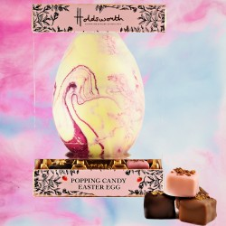 Strawberry & Marc De Champagne Easter Egg with Truffles all coated in Popping Candy