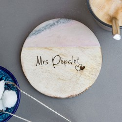Personalised 'Nickname' Marble and Mango Wood Coaster