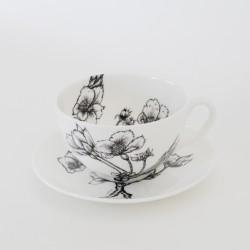 Fine Bone China Cappuccino Cup & Saucer - Blossom
