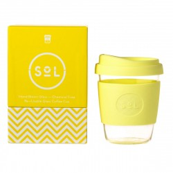 Reusable Glass Coffee Cup 12oz (Choice of Colour)