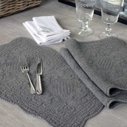 Set of 6 Grey Quilted Placemats