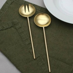 Luxury Brushed Gold Brass Salad Serving Set