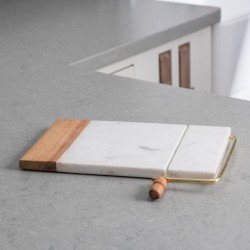 Marble Cheese Slicing Board With Bronze Arm