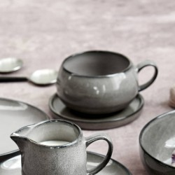 Grey Amara Ceramic Cup And Saucer Set