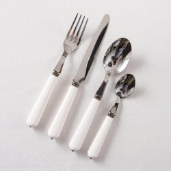 French Bistro Style 24 Piece Cutlery Set With White Handles