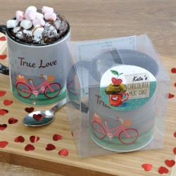 Romantic Mug Cake Gift for Anniversary, Engagement or Valentines with Personalisation