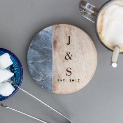 Personalised Marble & Mango Wood Coaster
