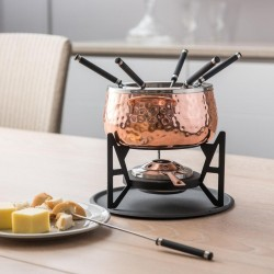 Cheese Fondue Set Copper Coloured