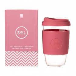 Reusable Glass Coffee Cup 16oz (Choice of Colour)