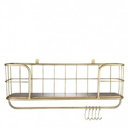 Mango Wood And Metal Kitchen Shelf With Hooks