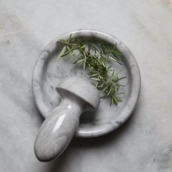 Marble Flat Pestle And Mortar