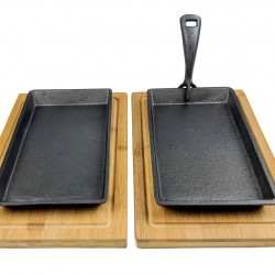 Cast Iron Skillet + Wooden Boards 2 Set Pack