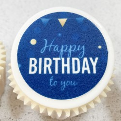 Happy Birthday Blue Star Cupcakes Gift Box