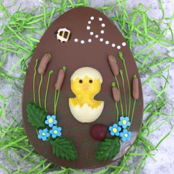Large Flat Milk Chocolate Easter Egg Decorated with a Chick and Bee