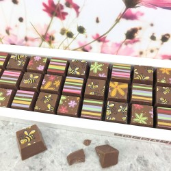 Mosaic Chocolates in Milk Chocolate with Bees and Flowers