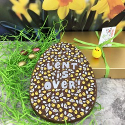 Large Milk Chocolate Easter Egg with 'Lent is Over' Message