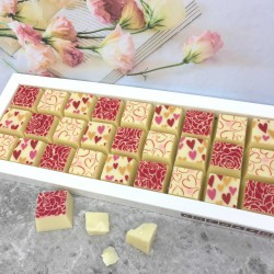 Mosaic Chocolates in White Chocolate with Hearts and Roses