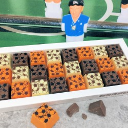 Mosaic Football Chocolates in Milk and White Chocolate and Orange Flavour