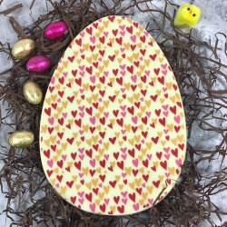 Large Chocolate Easter Egg in White Chocolate with Hearts Design