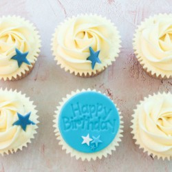 Happy Birthday Blue Star Cupcakes Gift Box