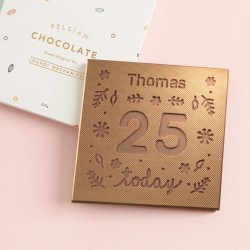 Personalised Chocolate Name and Number Birthday Card