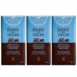 3 bars of Handmade Dark Chocolate & Toasted Coconut Delhi Mix