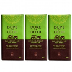 3 bars of Handmade Dark Chocolate and Lime Delhi Mix