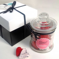 Champagne & Strawberries Marshmallow Hearts Jar